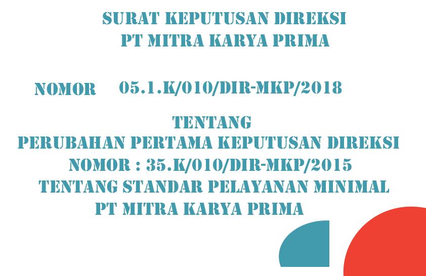 Download Keputusan Direksi Tentang Standar Pelayanan Minimal PT Mitra Karya Prima